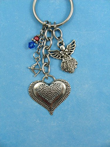 Phi Charm Keychain - Pi Beta Phi Sorority Keychain Dotted Heart Angel Arrow Charms OFFICIALLY LICENSED PRODUCT