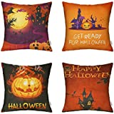 HIPPIH 4 Packs Happy Halloween Square Pillowcases - 18 X 18 Inch Hallowmas Decorative Throw Pillow Cover,Pumpkin Series
