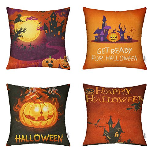 HIPPIH 4 Packs Happy Halloween Square Pillowcases - 18 X 18 Inch Hallowmas Decorative Throw Pillow Cover,Pumpkin Series