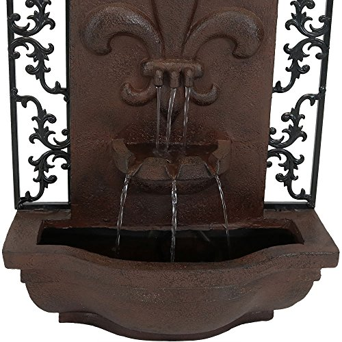 Sunnydaze French Lily Outdoor Wall Mounted Water Fountain with Electric Submersible Pump, 33-Inch, Iron Finish by Sunnydaze Decor (Image #6)