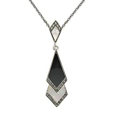 Esse marcasite sterling silver mother of pearl black onyx and esse marcasite sterling silver mother of pearl black onyx and marcasite art deco pendant with 46cm mozeypictures Choice Image