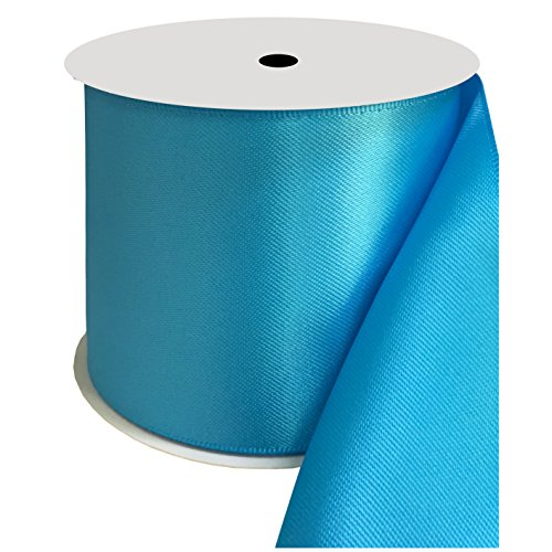 DUOQU 3 inch Wide Double Face Satin Ribbon 10 Yards Roll Multiple Colors Island Blue by DUOQU