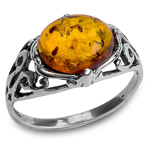 Baltic Amber Sterling Silver Prong Ring