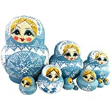 Winterworm Set of 10 Cutie Lovely Powder Blue and White Porcelain Nesting Dolls Matryoshka Russian Doll Popular Handmade Kids Girl Christmas Birthday Gifts Toy Perfect Mother's Day Gift