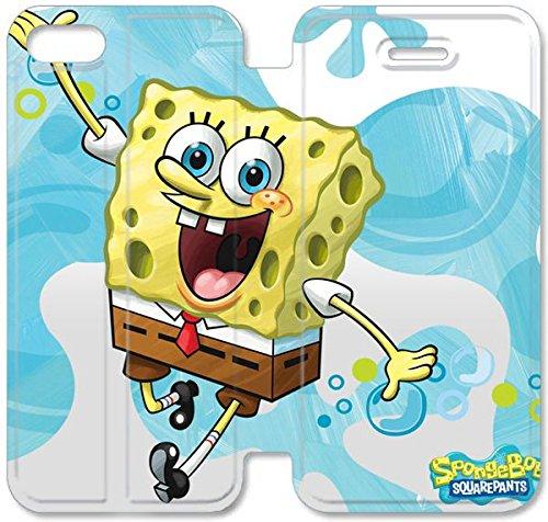 Flip étui en cuir PU Stand pour Coque iPhone 5 5S, bricolage 5 5S étui de téléphone cellulaire Spongebob Sourire Housse en cuir J7C3YL Vie Coque iPhone