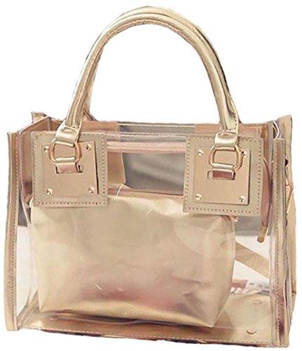 2017 Womens Girls Clear Transparent Shoulder Bag Jelly Candy Summer Beach Handbag (Gold)