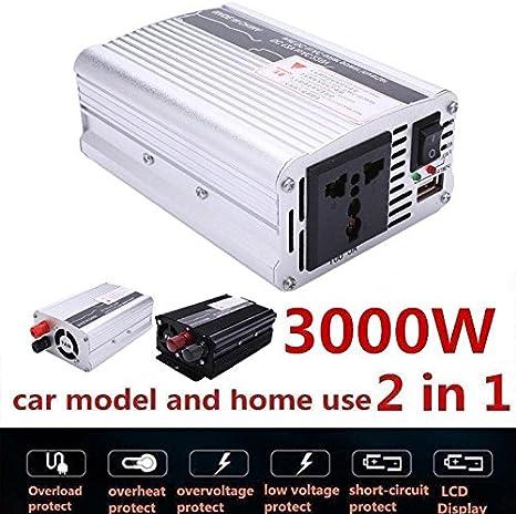 12V bis 220V; Schwarz 110V AC-Konverter mit Display und USB-Anschluss f/ür Auto-Inverter 3000W Peak DC 12V zu AC220V TOPmountain Auto Power Inverter