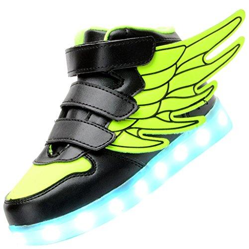 Odema Zapatos de luz LED de cana alta con alas unisex para nino Verde