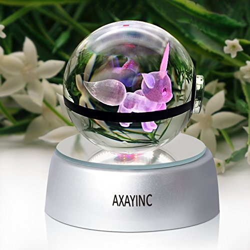 AXAYINC 3D Crystal Ball LED Night Lights 50mm crystal ball Advance Laser Engraving Children's Gift (Eevee)