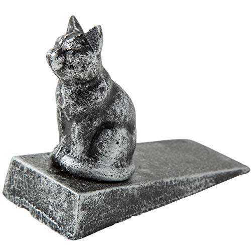 Vintage Cast Iron Cat Door Stop Wedge by Comfify | Lovely Decorative Finish, Padded Anti-Scratch Felt Bottom Protects Floors | in Silver with ()
