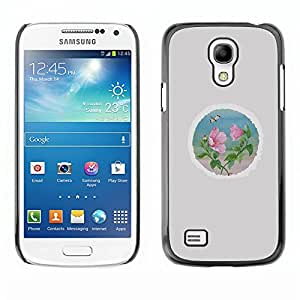 TopCaseStore / la caja del caucho duro de la cubierta de protección de la piel - Petal Round Minimalist Grey - Samsung Galaxy S4 Mini i9190 MINI VERSION!