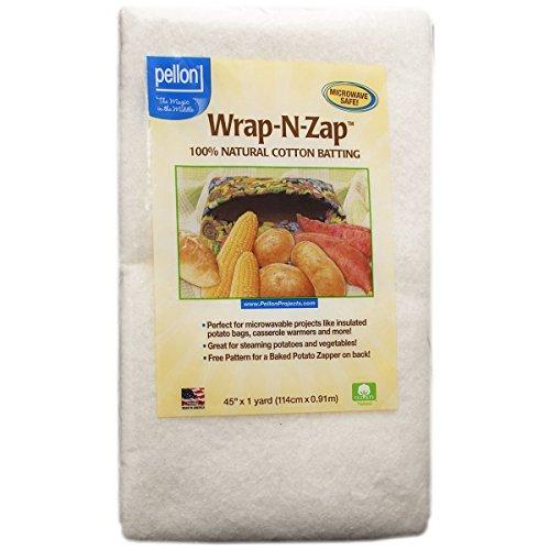 Pellon Wrap-N-Zap Cotton Quilt Batting, 45 by 36-Inch, Natural 2-Pack
