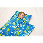 Kids-Nap-Mat-with-Removable-Pillow-Soft-Lightweight-Mats-Easy-Clean-Toddler-Nap-Pad-for-Preschool-Daycare-Kindergarten-Children-Sleeping-Bag-Blue-with-Dinosaur-Design-by-Bambino-Bliss