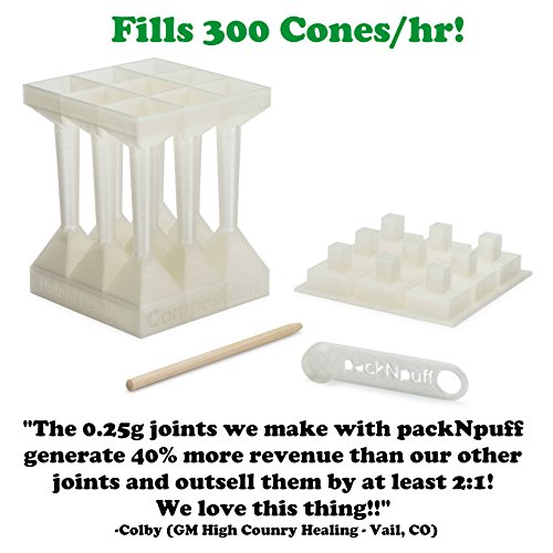 Cone Filling System - Fill 300 Pre-Rolled Cones in 1 Hour! Easily Produce High Quality, Evenly Packed, Custom Sized Cones. Designed for Raw 1 1/4 Cones. by packNpuff (Image #1)