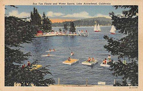 Lake Arrowhead California sun tan floats sailboats pier linen antique pc Z39941
