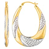 14K Yellow Gold Oval Swirl Hoop Earrings (30 x 40 mm)