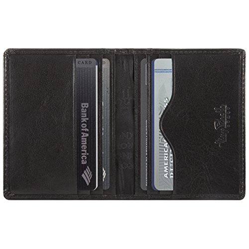Thin Black Perotti Credit Tony Card Bifold Leather Wallet Holder Italian qpBwtU