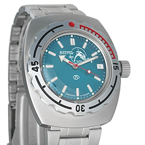 VOSTOK AMPHIBIAN Mens Automatic Military Analog Stainless Steel Watch Scuba Dude Amphibia Blue 1967 Design #090059 (Watch Blue Vostok)