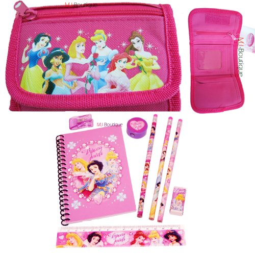 Hot Pink - Disney Princess Wallet Trifold FREE Princess Stationary Set - Kids Girls Gift (Boutique Stationary)