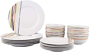 AmazonBasics 18-Piece Kitchen Dinnerware Set, Dishes, Bowls, Service for 6, Warm Beams