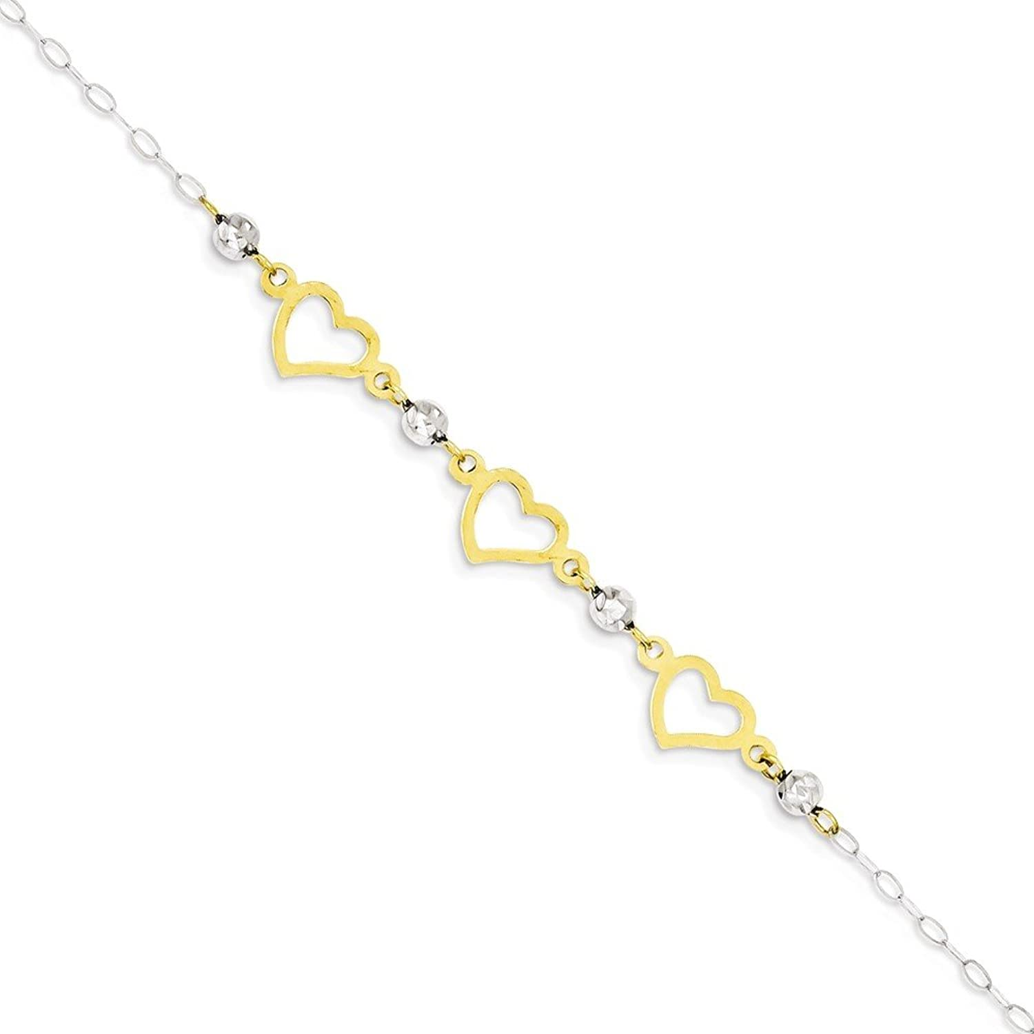 IceCarats Designer Jewelry 14K Two-Tone Oval Link Diamond Cut Beads And Heart Bracelet In 7.5 Inch