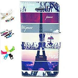 SHOUJIKE Pylon Pattern PU Leather Full Body Case with Card Slot and Stylus Anti-Dust Plug and Stand for iPhone 5/5S , Blue-Yellow