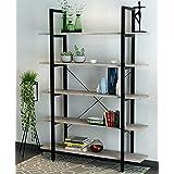 ORAF 5 Tier Vintage Industrial Rustic Bookshelves Modern Bookshelf In Wood And Metal