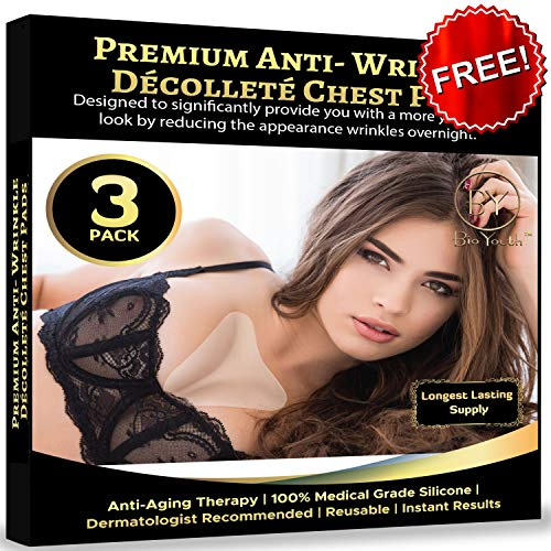 3 Pack Reusable Anti Wrinkle Chest Décolleté Pads Silicone for Chest Wrinkles, Premium Medical Grade Chest Wrinkle Pads to Remove Wrinkles and Stretch Marks. Plus Free EBOOK