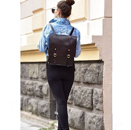 Dark Brown Leather Women's Handmade Backpack