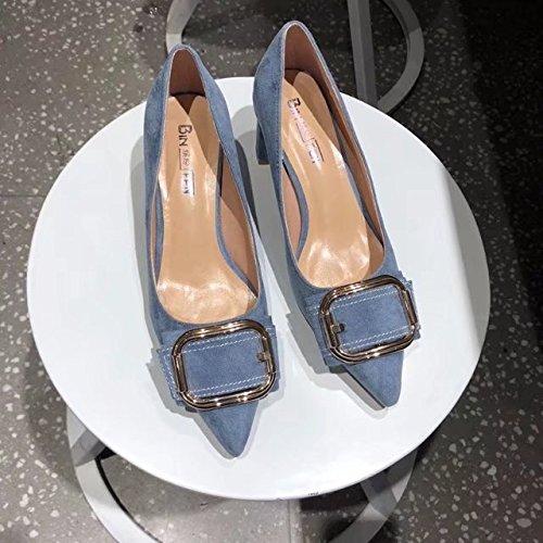 pesanti 36 High blu scarpe Light Donne Le Singoli elegante e punta Belt Clip Heel scarpe 6xHg5qw0
