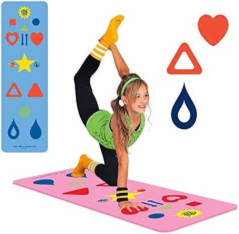 Kids, Tween Adult Yoga Mat Sizes Yoga Game, The Chi Mat How-to Poster – Makes Yoga Fun – Comes in 2 different Mat Sizes for Kid and Tween Adult – Family Exercise Game – Easy to Learn – Aligns The Body, Aids Weight Loss, Mindfulness – Eco-Friendly