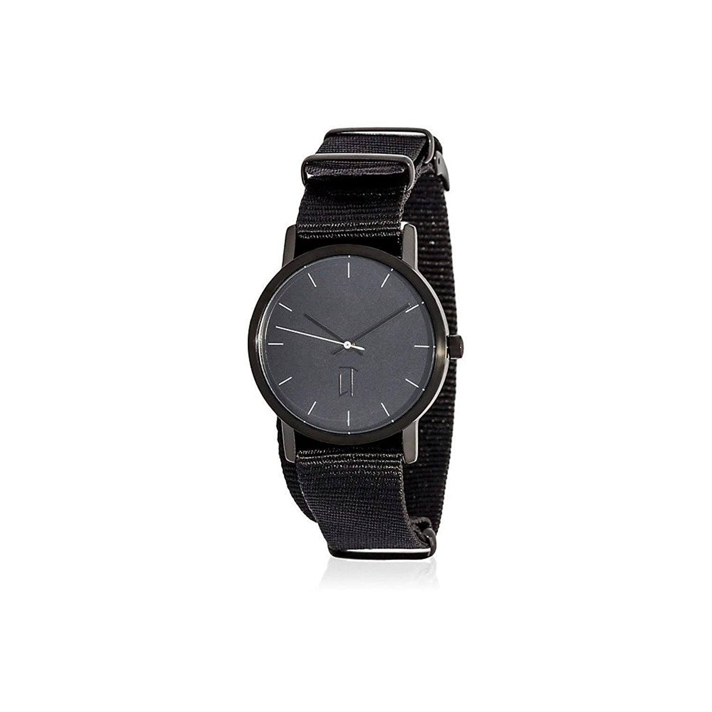 腕時計ユニセックスLa trotteuse Movementクオーツケースブラック34 mm andブレスレットブラックナイロン製lt025 B06ZZG299J