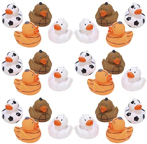 HAPPY DEALS ~ 24 Sports Rubber Duckies - 2 inch - Football, Basketball, Baseball, Soccer -