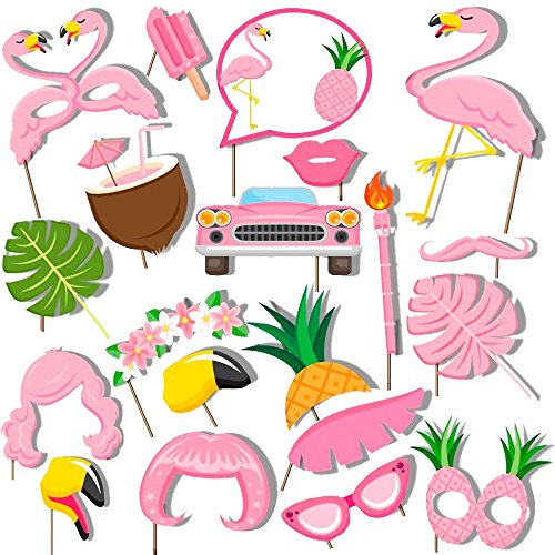 Pink Hawaiian Flamingo Photo Booth Props Kit Summer Party Decoration Pink Flamingo Party Favors Party Supplies -