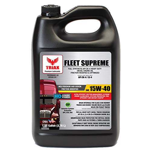 Price comparison product image Triax Full Synthetic 15W-40 Fleet Supreme API CK-4 / CJ-4 - Friction Modified / Optimized with Moly & Boron,  Extreme Durability & Performance (1 Gallon (case of 4))
