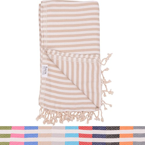 Beige Striped Turkish Towel Naturally product image