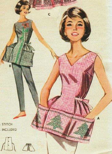 Butterick 9982 Misses' Cross-Stitched Apron Sewing Pattern, For Gingham Fabric Vintage 1950s