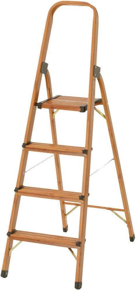 ぼん家具 脚立 アルミ製 木目調 折りたたみ 軽量 ステップ おしゃれ 4段 ブラウン