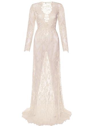 Saslax Maternity Sexy Deep V-Neck Long Sleeve Lace See-Through Maxi Dress  for 4b62373fb