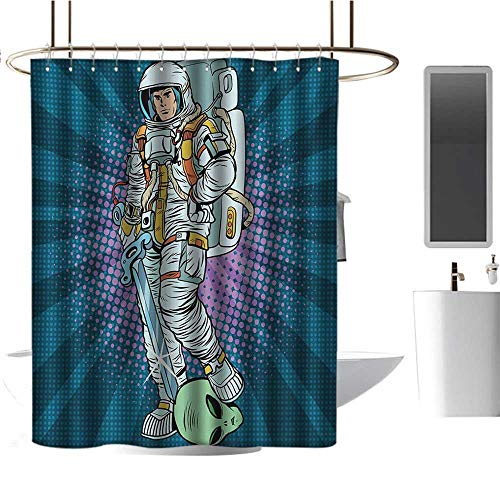 TimBeve Colorful Shower Curtain Astronaut,Galaxy Figure and Severed Alien Head Masculine Space Era Fighters Design,Teal and Coconut,Decorative Bathroom Curtain 36