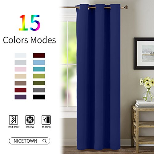 Navy Blue Living Room Curtain - NICETOWN Window Treatment Energy Saving Thermal Insulated Solid Grommet Blackout Drape / Drapery (Sold Individually, 42 by 84-Inch, Navy Blue)