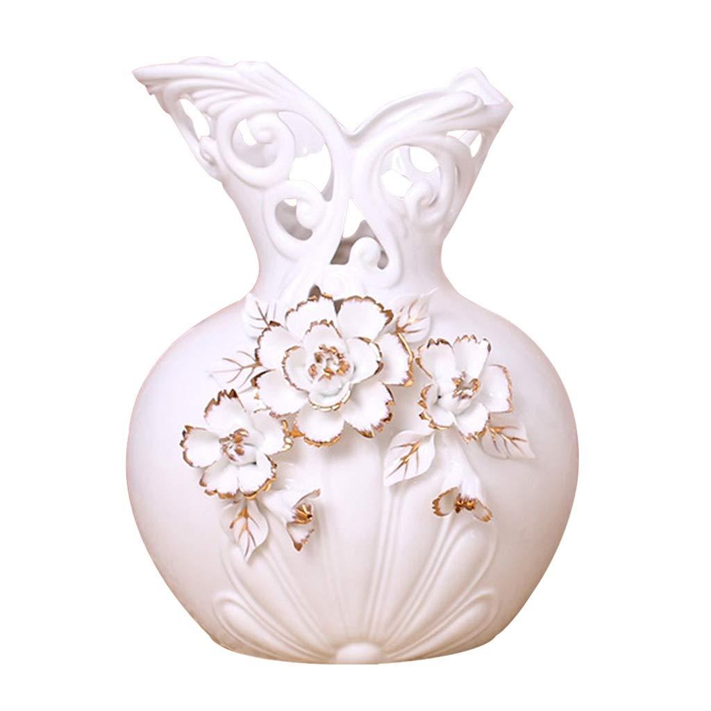 MAHONGQING 白ヨーロッパセラミック花瓶リビングルーム装飾テレビキャビネット装飾フラワーアレンジメント B07SYYYXZF