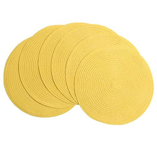 SHACOS Round Braided Placemats Set of 6 Place Mats for Dining Tables Washable (Yellow, 6)