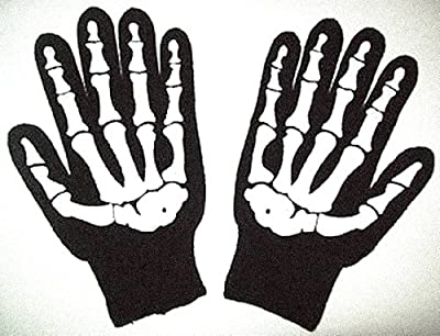 Size Large Knit Screenprinted Barry Weiss Skeleton Gloves - Goth Black Bone Knit New Knit Skeleton Gloves:Storage Wars-Style Paintball Winter Biker Motorcycle