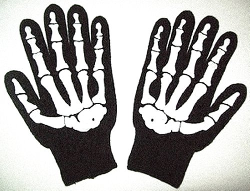 Size Large Knit Screenprinted Barry Weiss Skeleton Gloves - Goth Black Bone Knit New Knit Skeleton Gloves:Storage Wars-Style Paintball Winter Biker Motorcycle