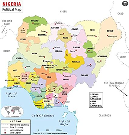 Amazon.com : Nigeria Political Map (36\