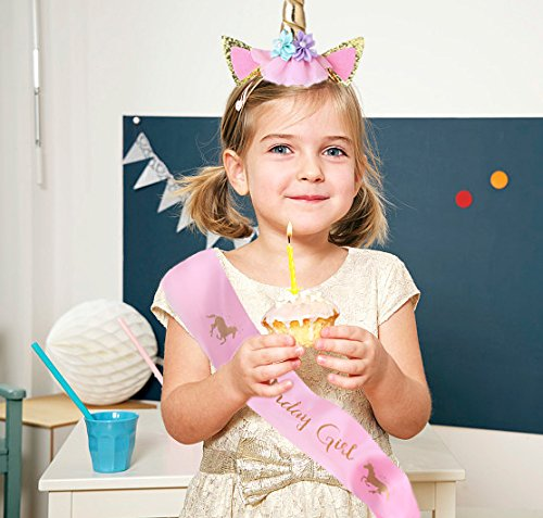 Cooper Fun Unicorn Birthday Set of Gold Glitter Unicorn Headband Pink Satin Sash for Happy Birthday Unicorn Party… 6