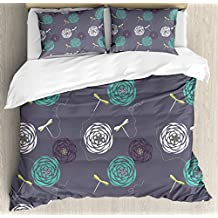 Dragonfly Duvet Cover Set by Ambesonne, Bohem Modern Indian Inspired Minimalist Bugs and Flowers Print, 3 Piece Bedding Set with Pillow Shams, Queen / Full, White Sky Blue and Dark Blue