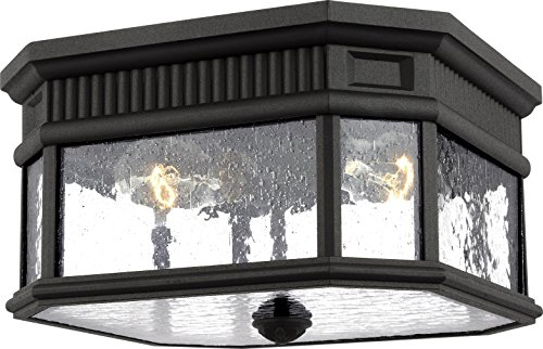 Feiss OL5433BK Cotswold Lane Outdoor Flush Mount Ceiling Lighting, Black, 2-Light (12