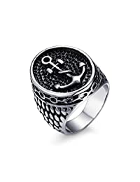Vnox Jewelry Men's Stainless Steel Anchor Signet Ring for Sailor's Amulet Size 8-12